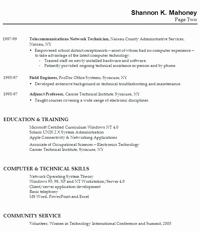 Non Technical Skills Resume Best Resume Gallery