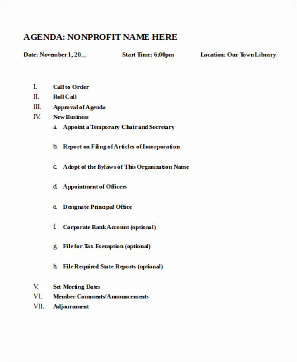 Nonprofit Agenda Templates 7 Free Sample Example format Download