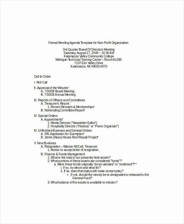 Nonprofit Board Meeting Agenda Template Beepmunk