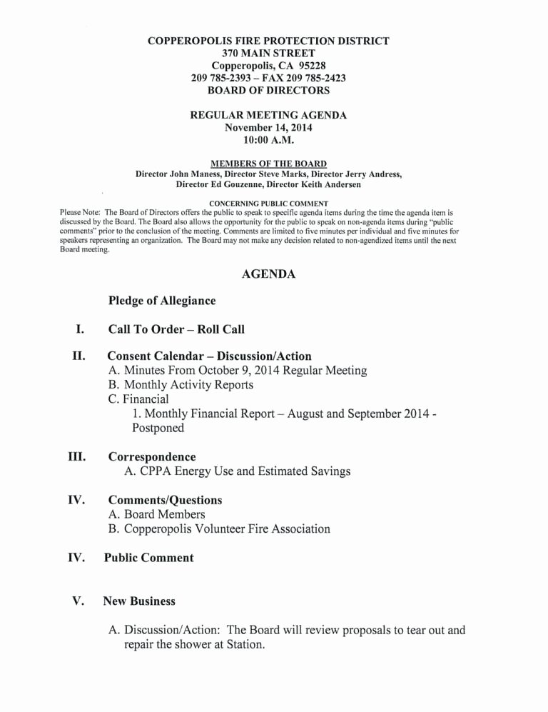 Nonprofit Board Meeting Agenda Template Minutes format for Construction Templates Free Sample