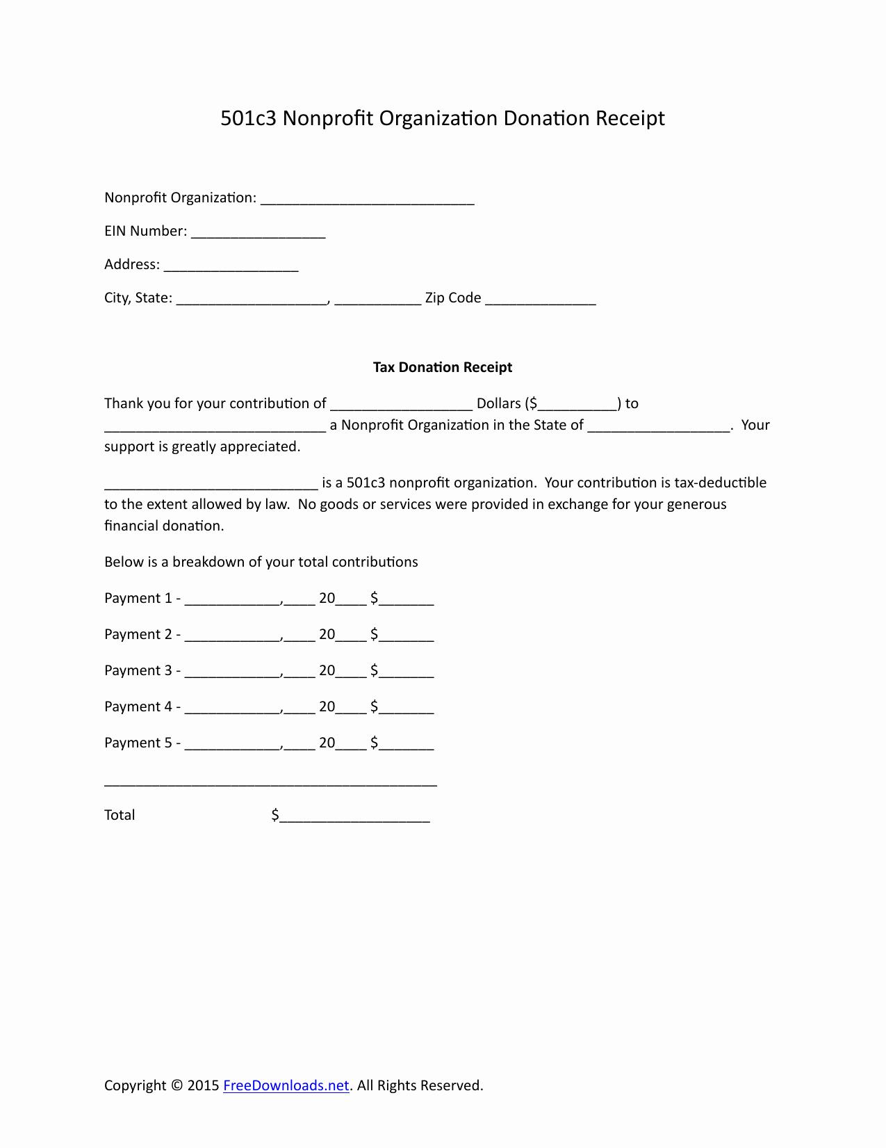 Nonprofit Gift Acknowledgement Letter