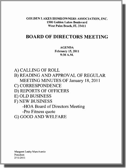 Notice Of Board Meeting – Glv Homeowners assoc Board Of