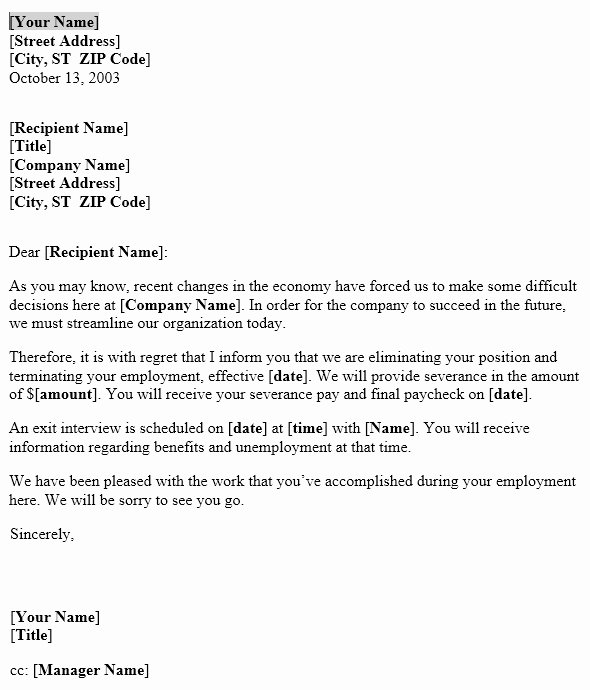 Notice Of Layoff Letter Template