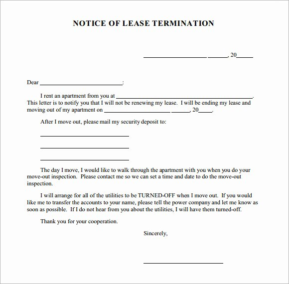 Notice Termination Tenancy Agreement Sample Letter