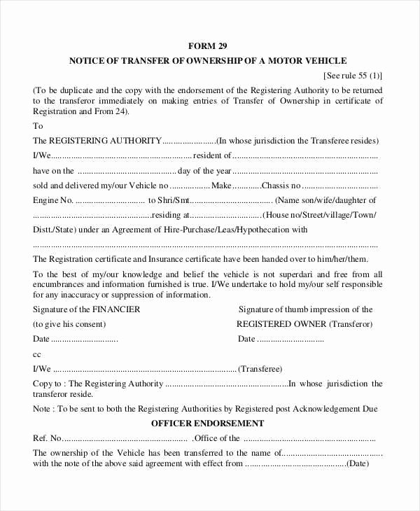 Notification Change Ownership Motor Vehicle