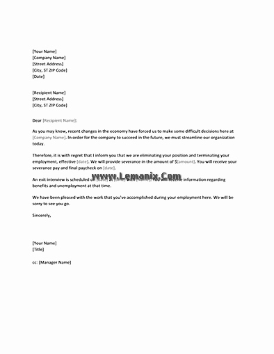 Notification Letter Templates to Employee Of Layoff for