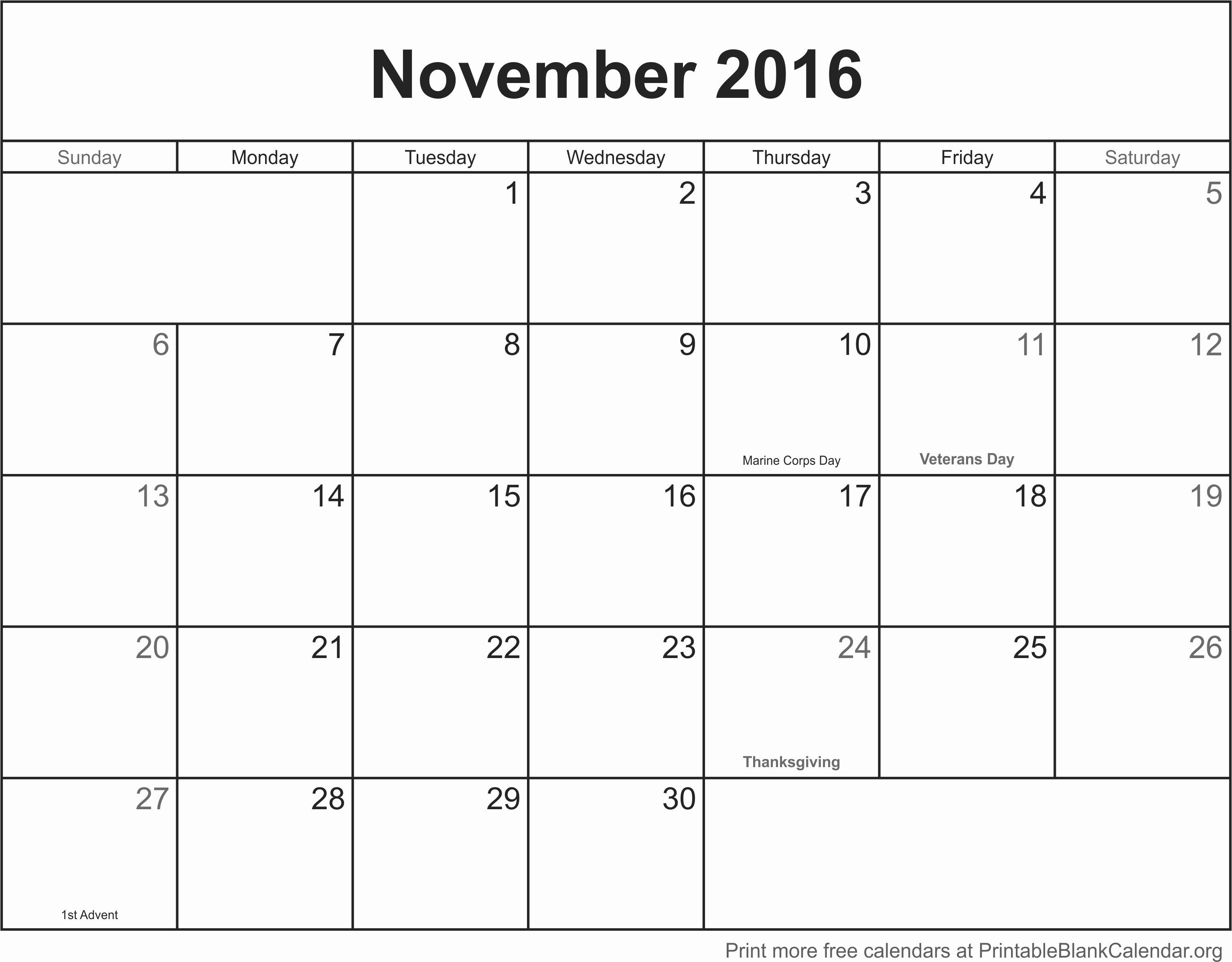 November 2016 Printable Blank Calendar Printable Blank