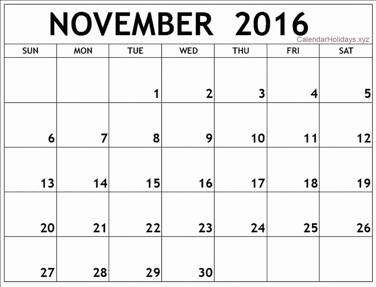 November 2016 Word Calendar Wordcalendar Calendartemplates