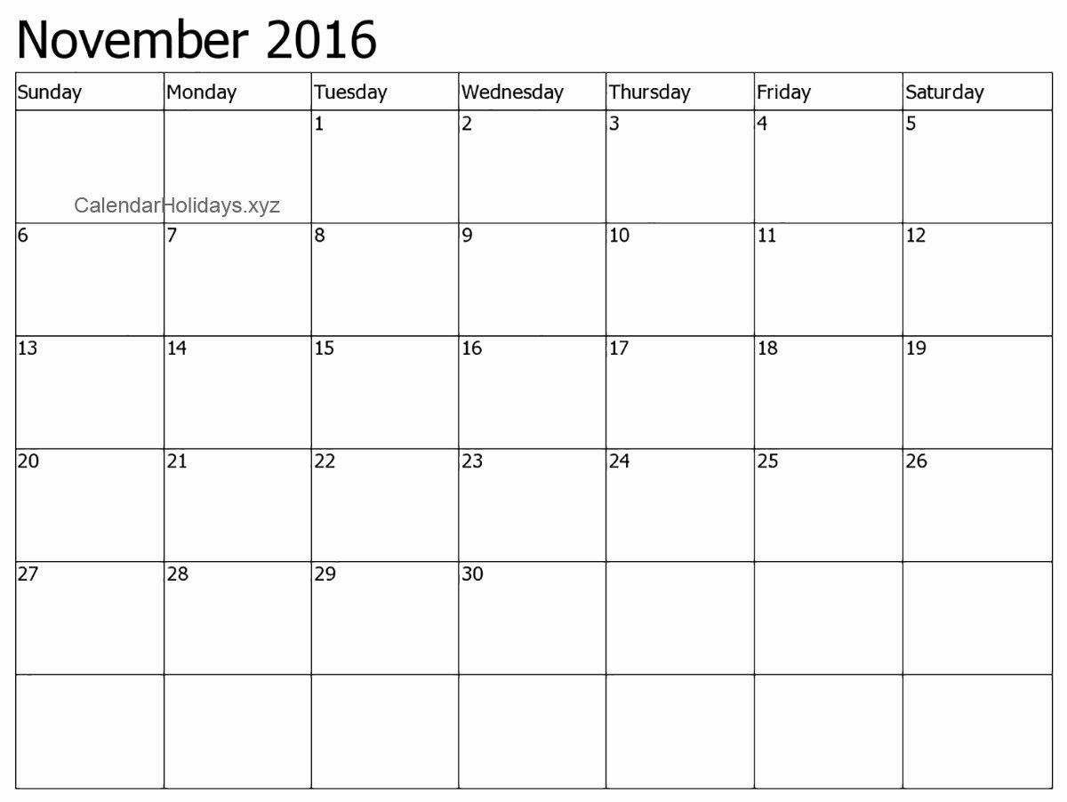 november 2016 word calendar