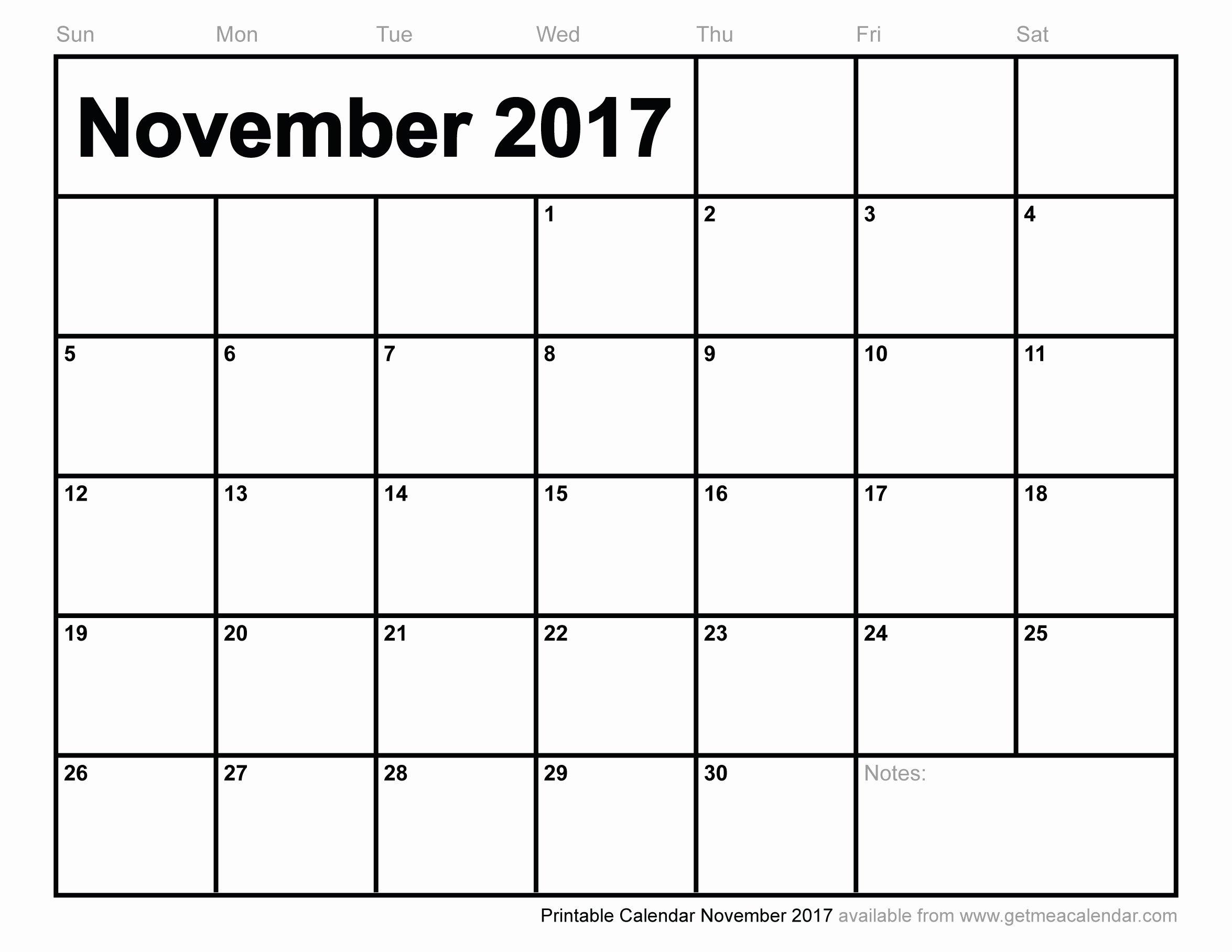 November 2017 Calendar Excel