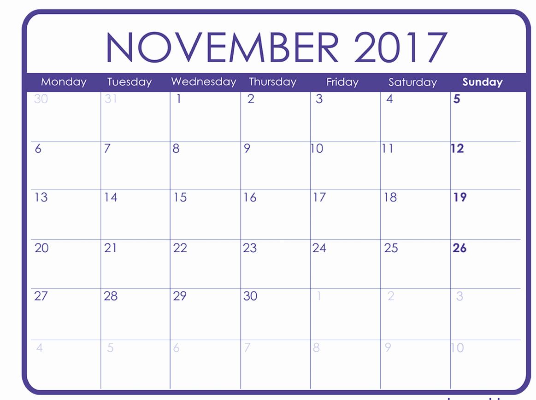 November 2017 Calendar Excel Import – Printable Calendar