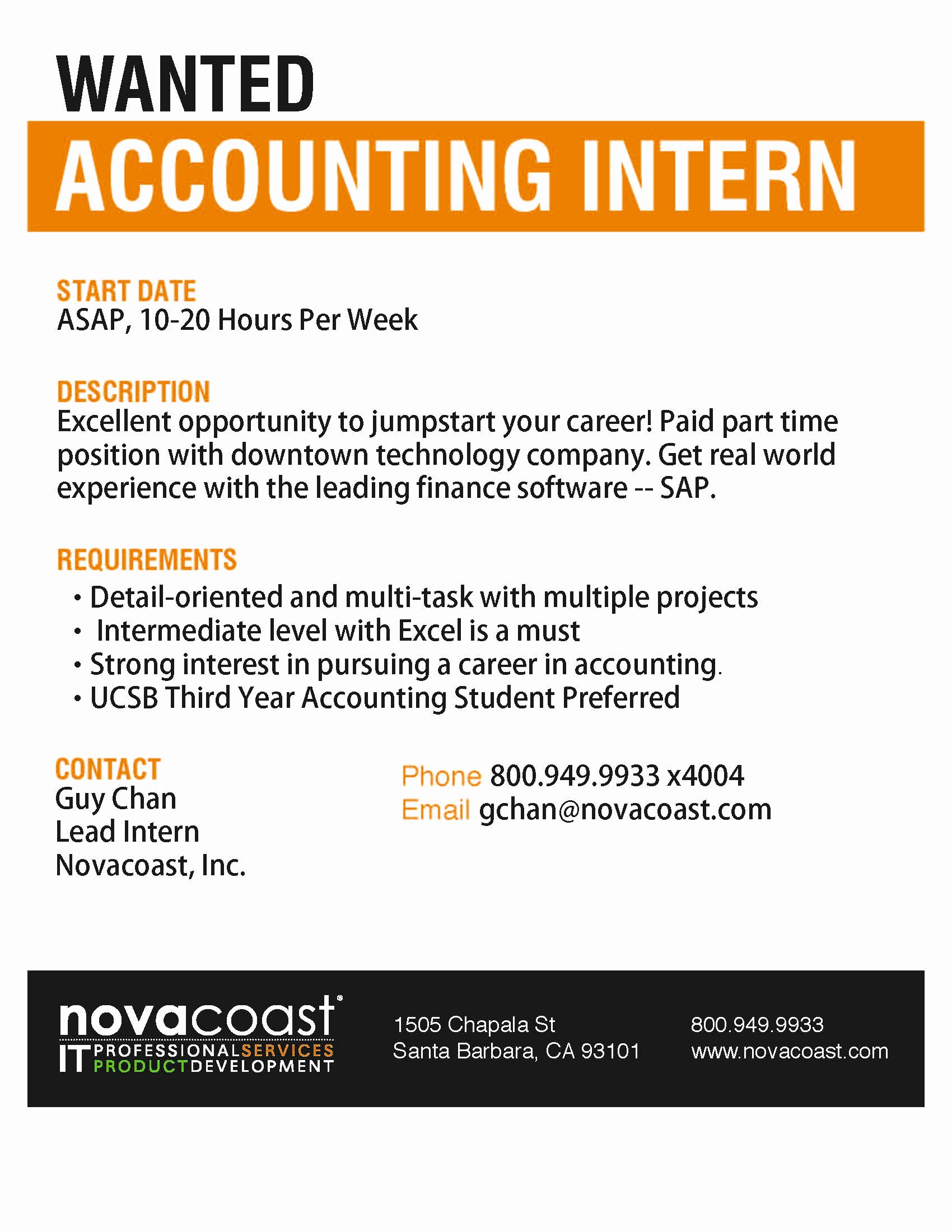 Novocoast – Wanted Accounting Intern Santa Barbara