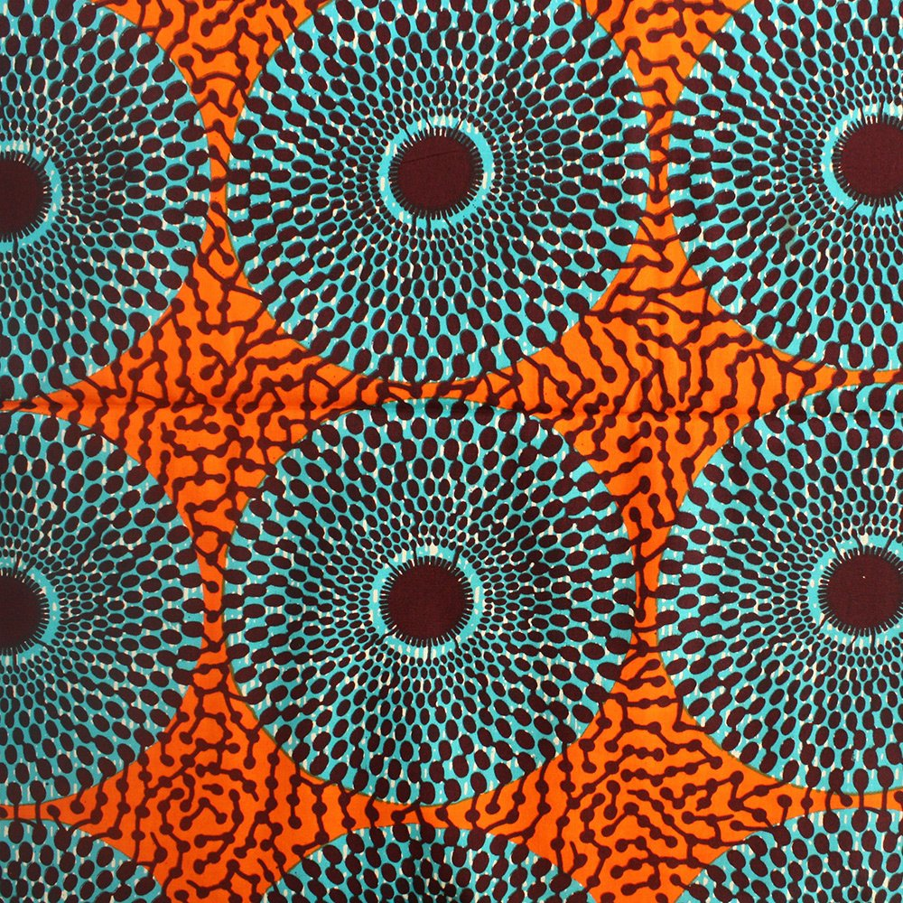 Nsu Bura Fabric Teal and orange 1 Yard – Urbanstax