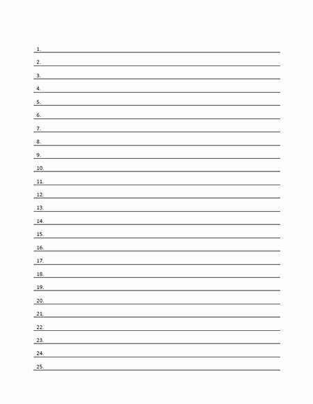 Numbered Lined Paper Template Printable Pdf form