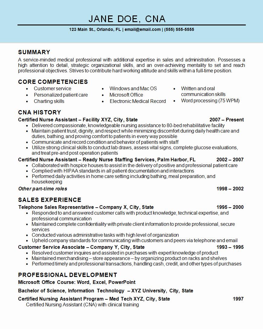 Nurse assistant Cna Resume Example