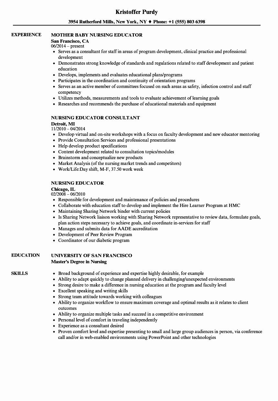 Nurse Educator Resume Sample