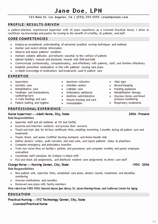 Nurse Lpn Resume Example Resume Examples
