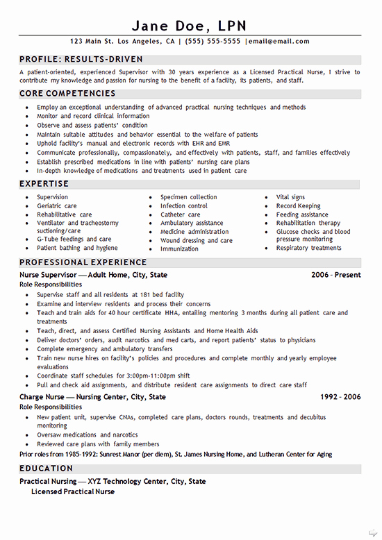 Nurse Lpn Resume Example Sample