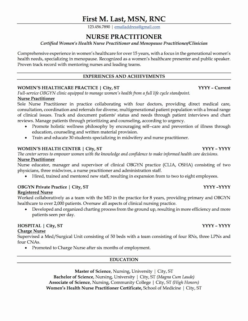 Nurse Practitioner Resume Sample