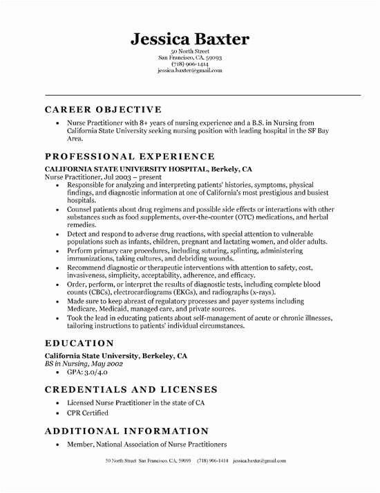 Nurse Practitioner Student Resume Objective Inspirational