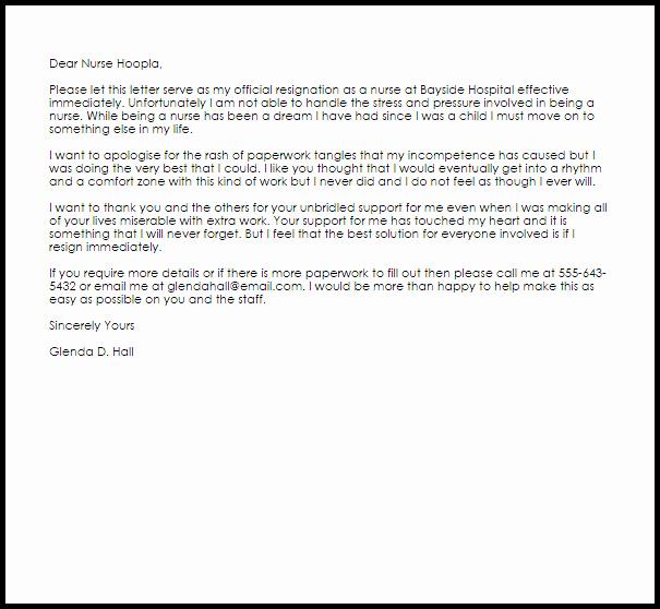 Nurse Resignation Letter Resignation Letters