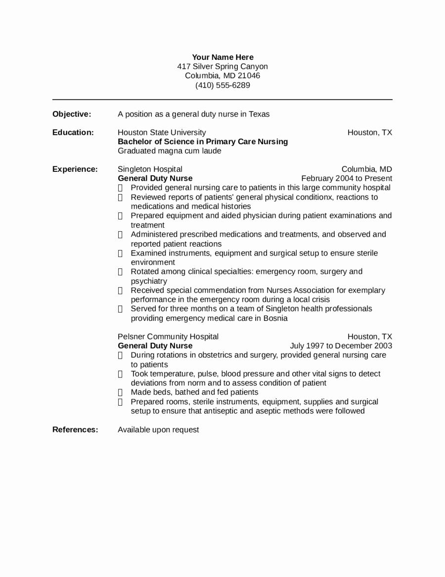 Nurse Resume Template Edit Fill Sign Line