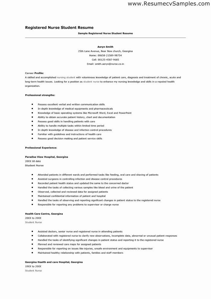 Nurse Student Resume