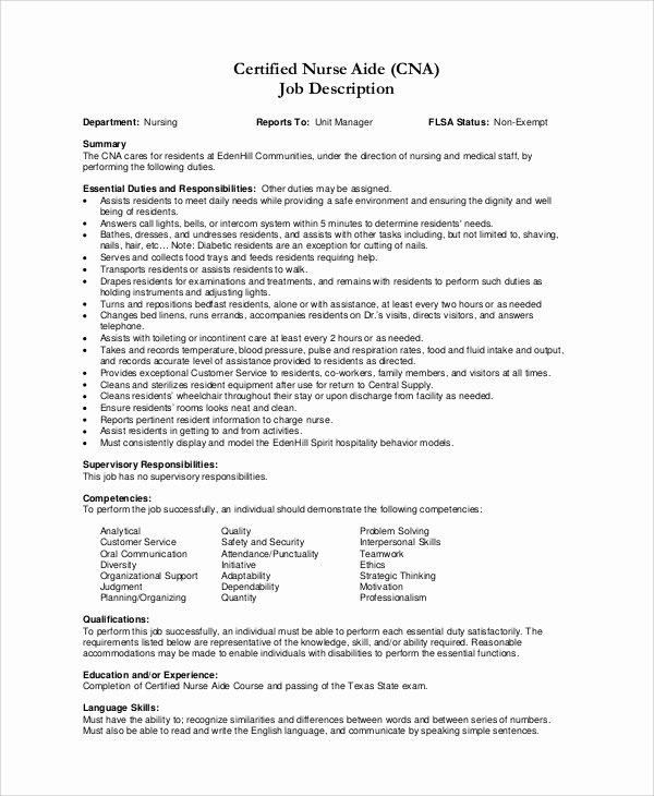 Nursing assistant Job Description for Resume Resume Ideas