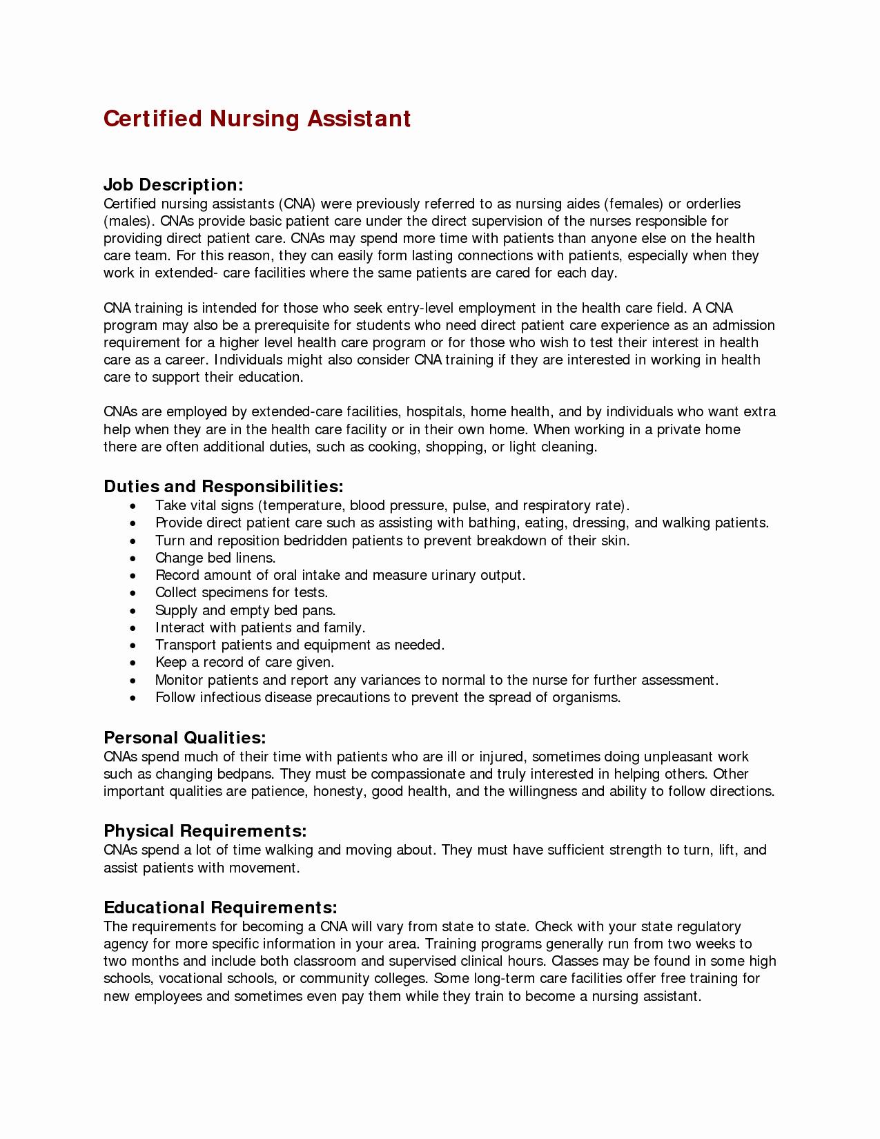 Nursing assistant Job Description for Resume Resume Ideas