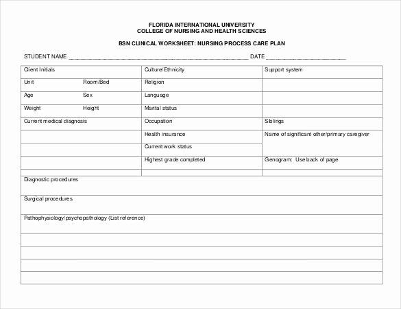 Nursing Care Plan Templates 20 Free Word Excel Pdf