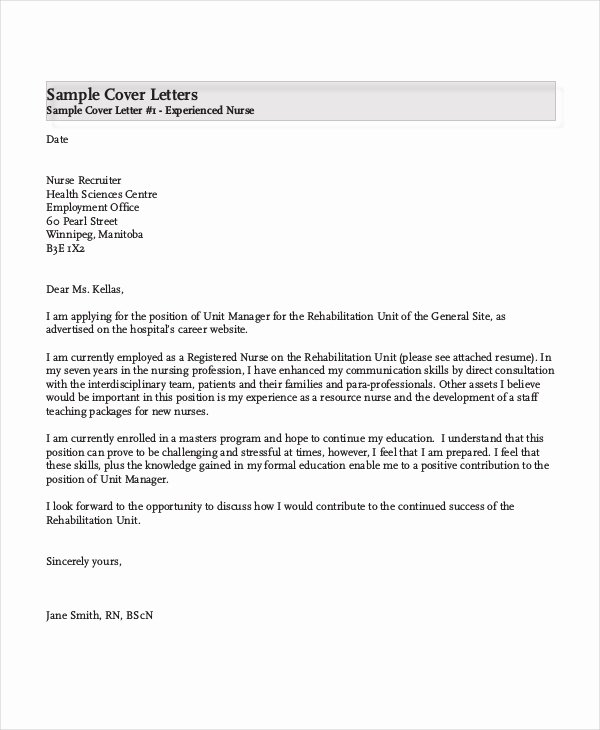 Nursing Cover Letter Example 11 Free Word Pdf