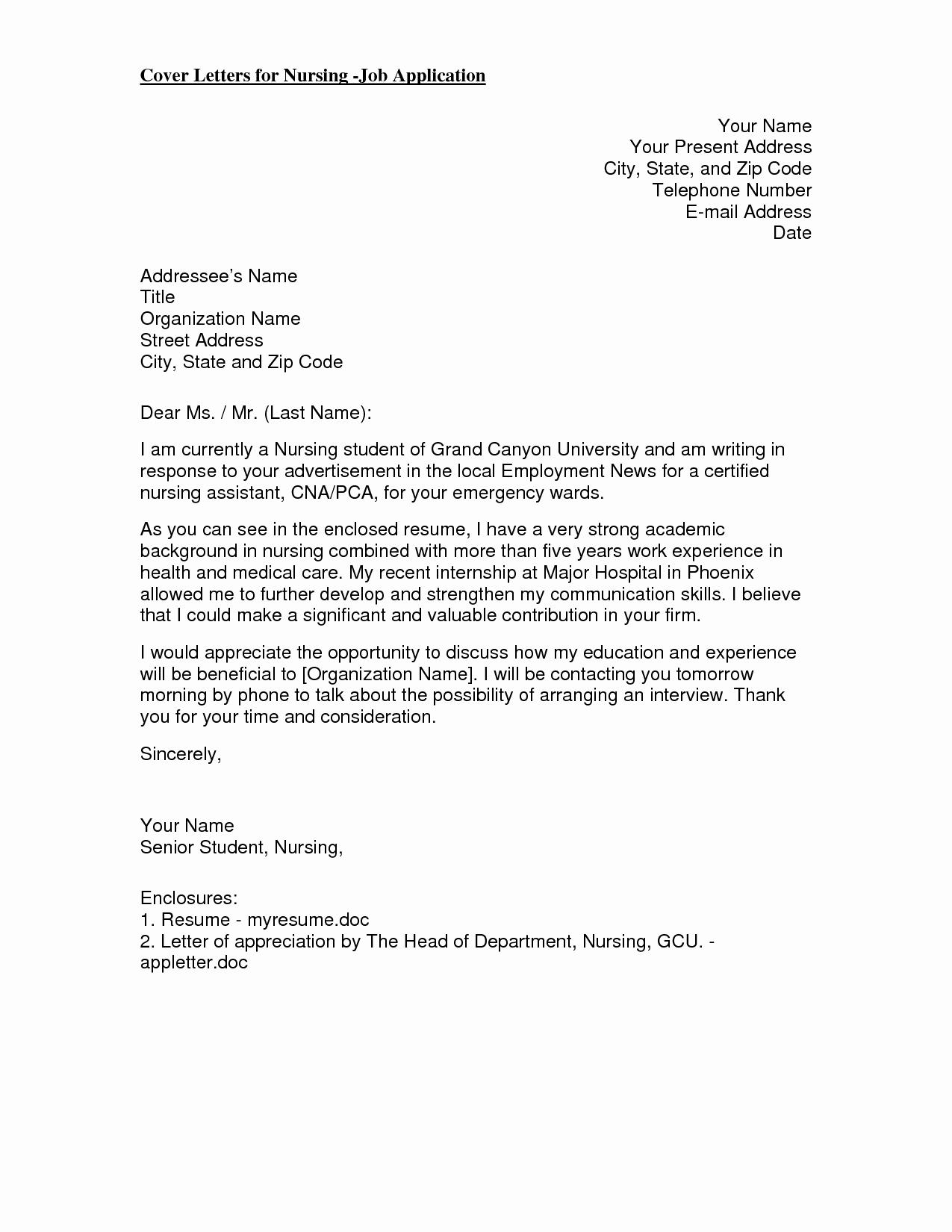 Nursing Cover Letter New Grad