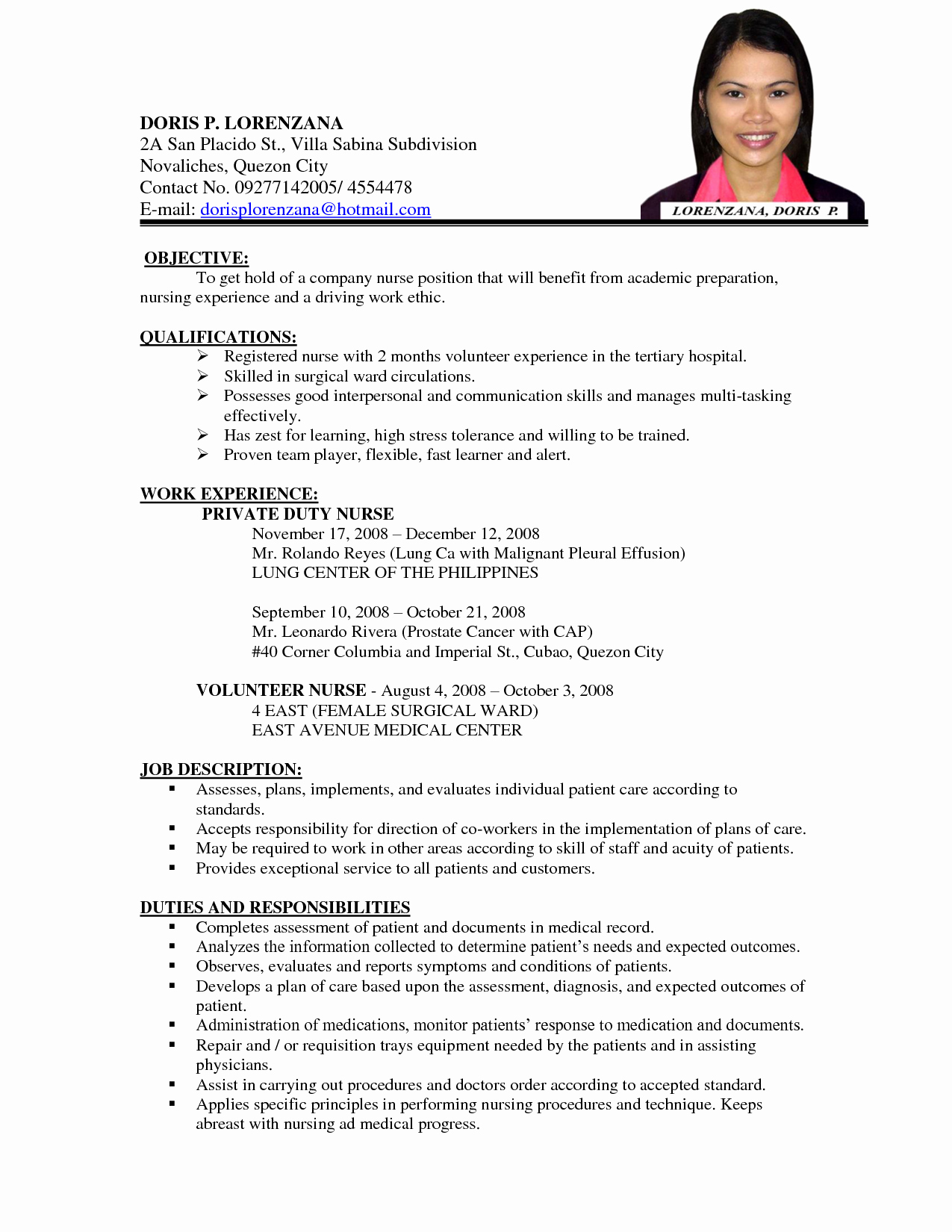 Nursing Curriculum Vitae Examples Google Search