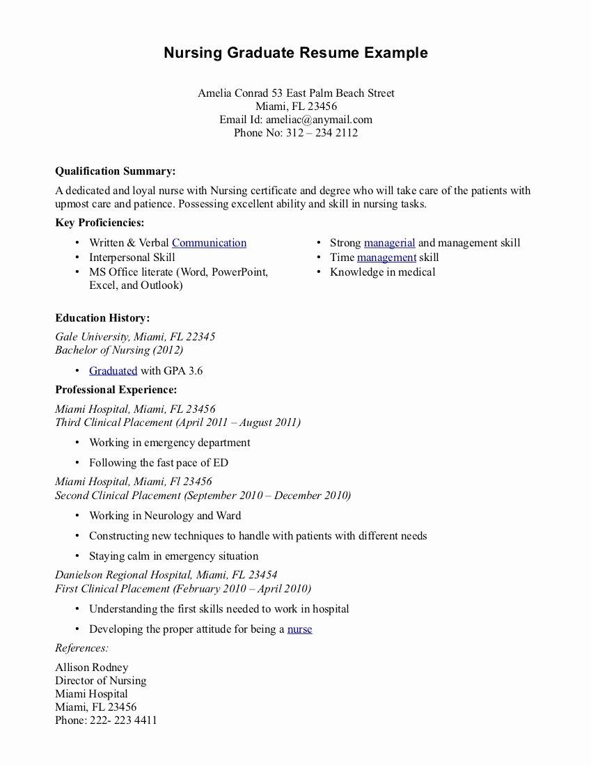 Nursing Grad Resume