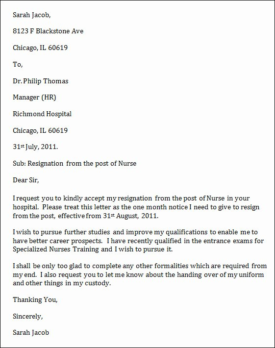 Nursing Resignation Letters