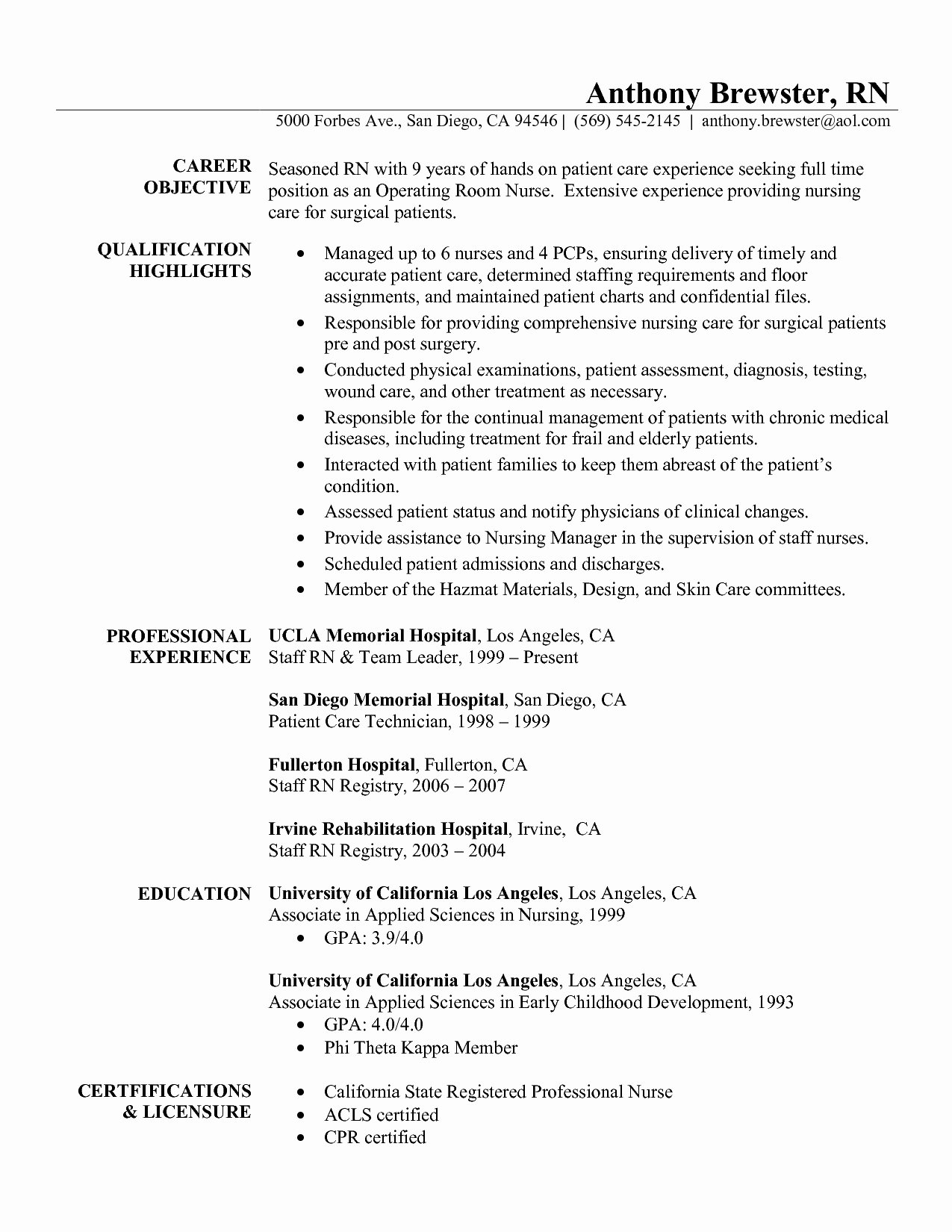 Nursing Resume Template 2017