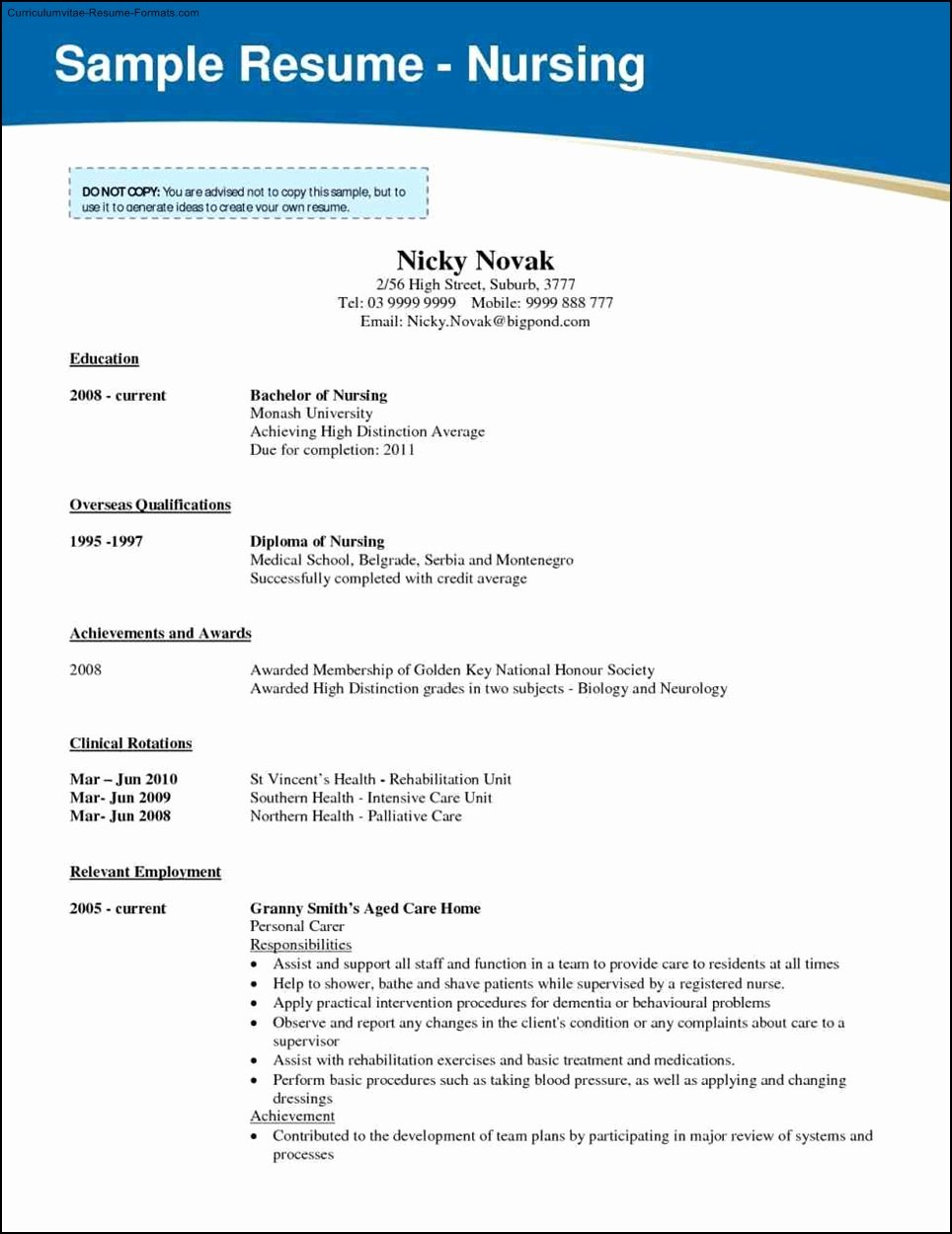 Nursing School Resume Template Free Samples Examples