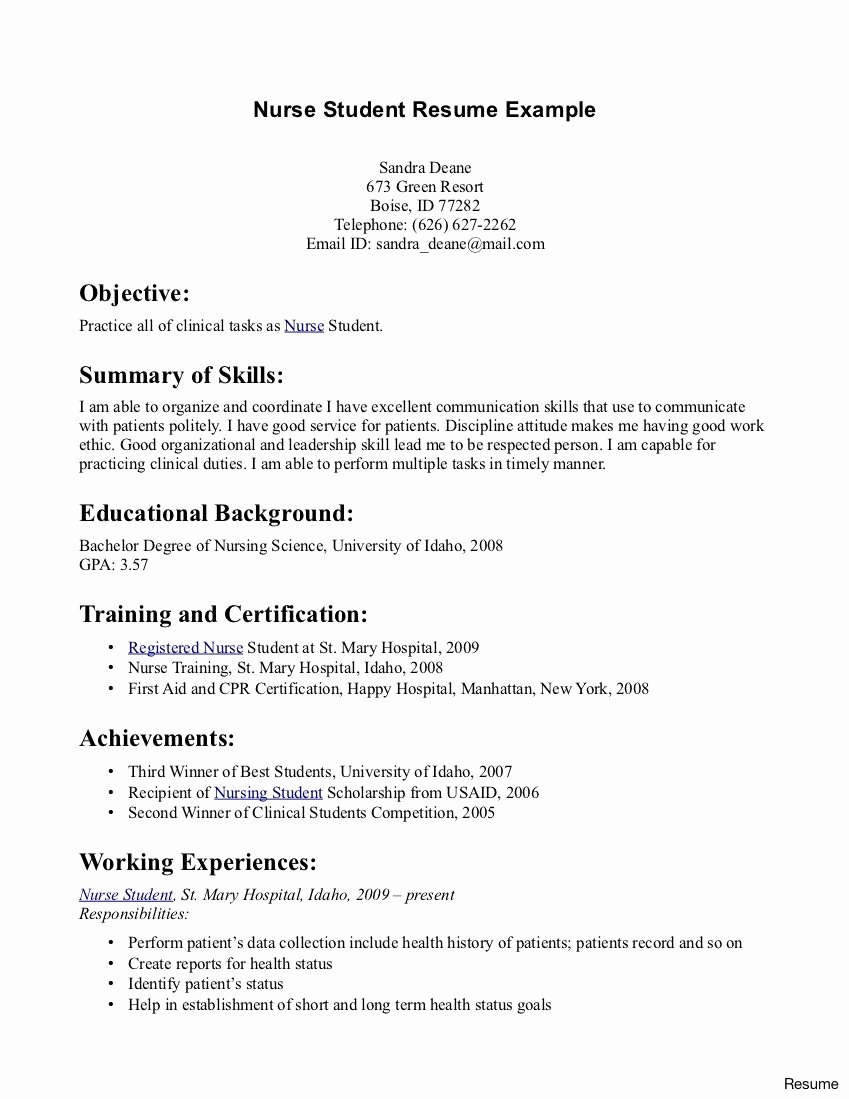 Nursing Student Clinical Experience Resume Nursing Student