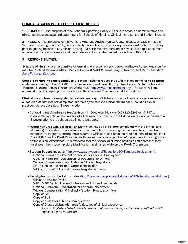 Nursing Student Clinical Experience Resume 8 Sample