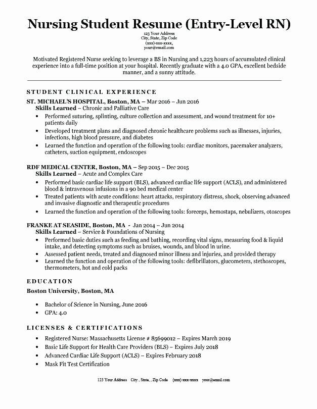 Nursing Student Resume Examples Nursing Student Resume