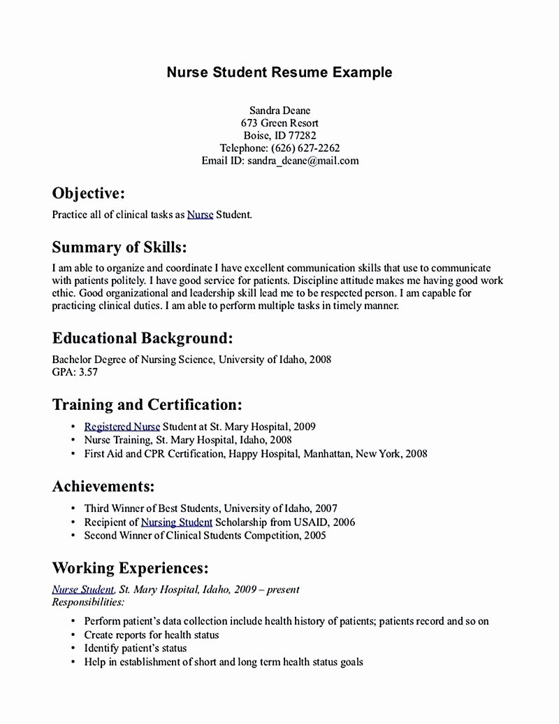 Nursing Student Resume Must Contains Relevant Skills