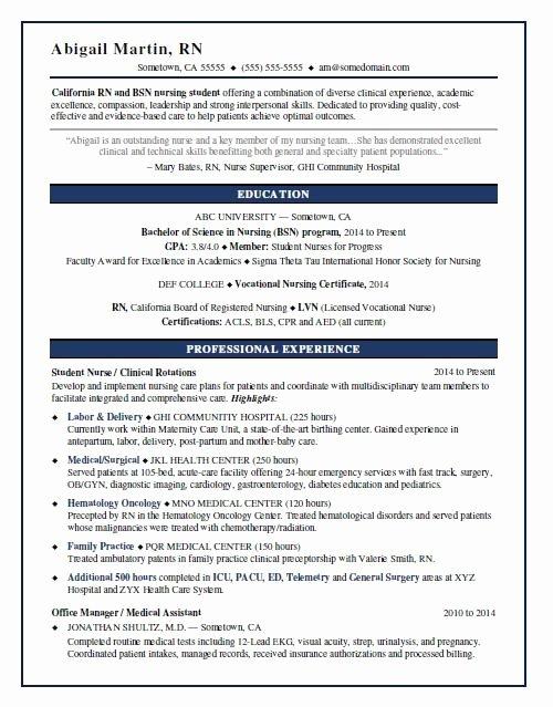 nusring student resume sample