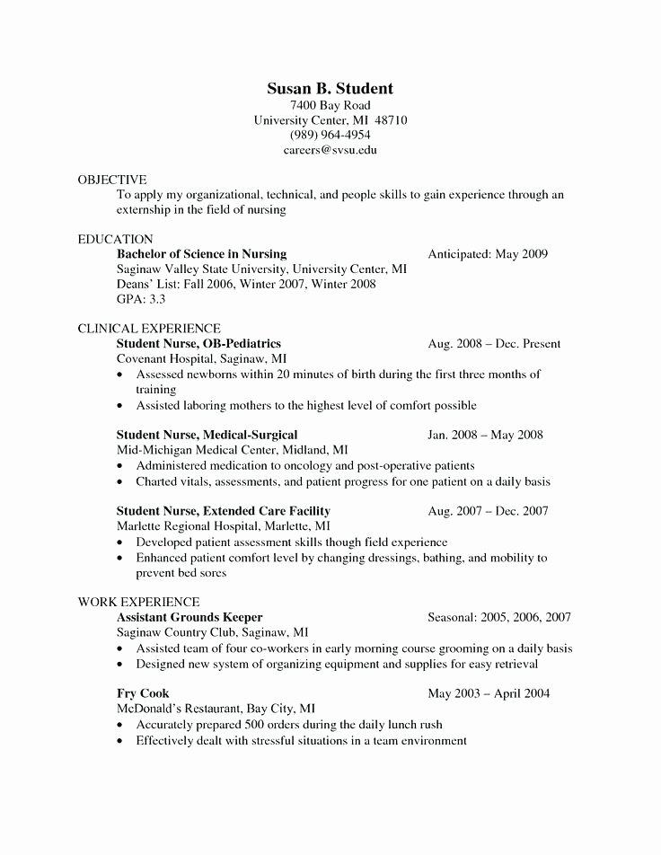 Nursing Student Resume Template Word Epcnew