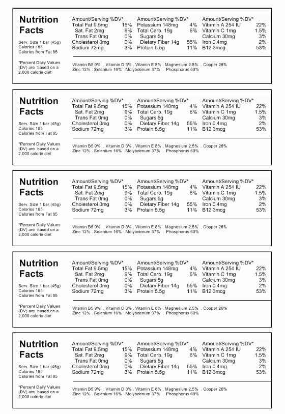 Nutrition Label Template Download