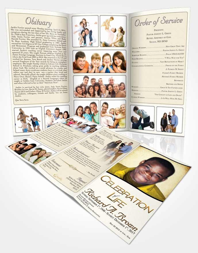 Obituary Template Trifold Brochure Euphoric Bliss