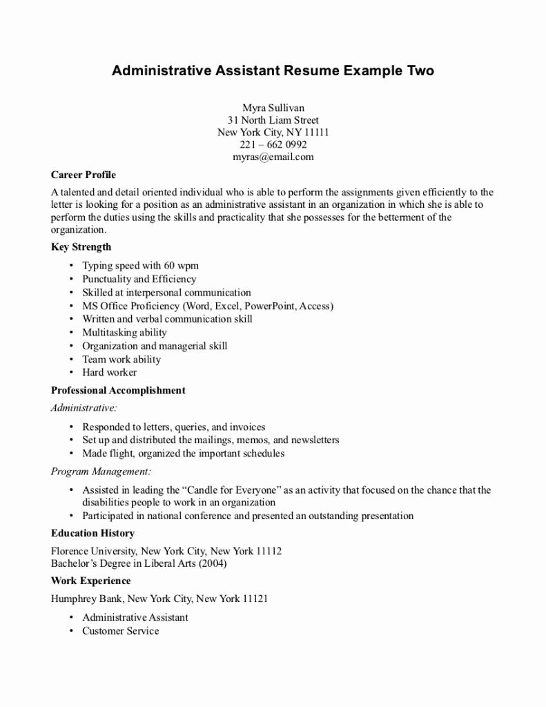 Objective Administrative assistant Cv for Administration