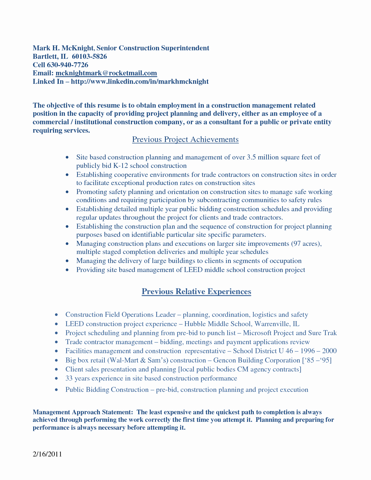 Objective for Construction Resume Sarahepps