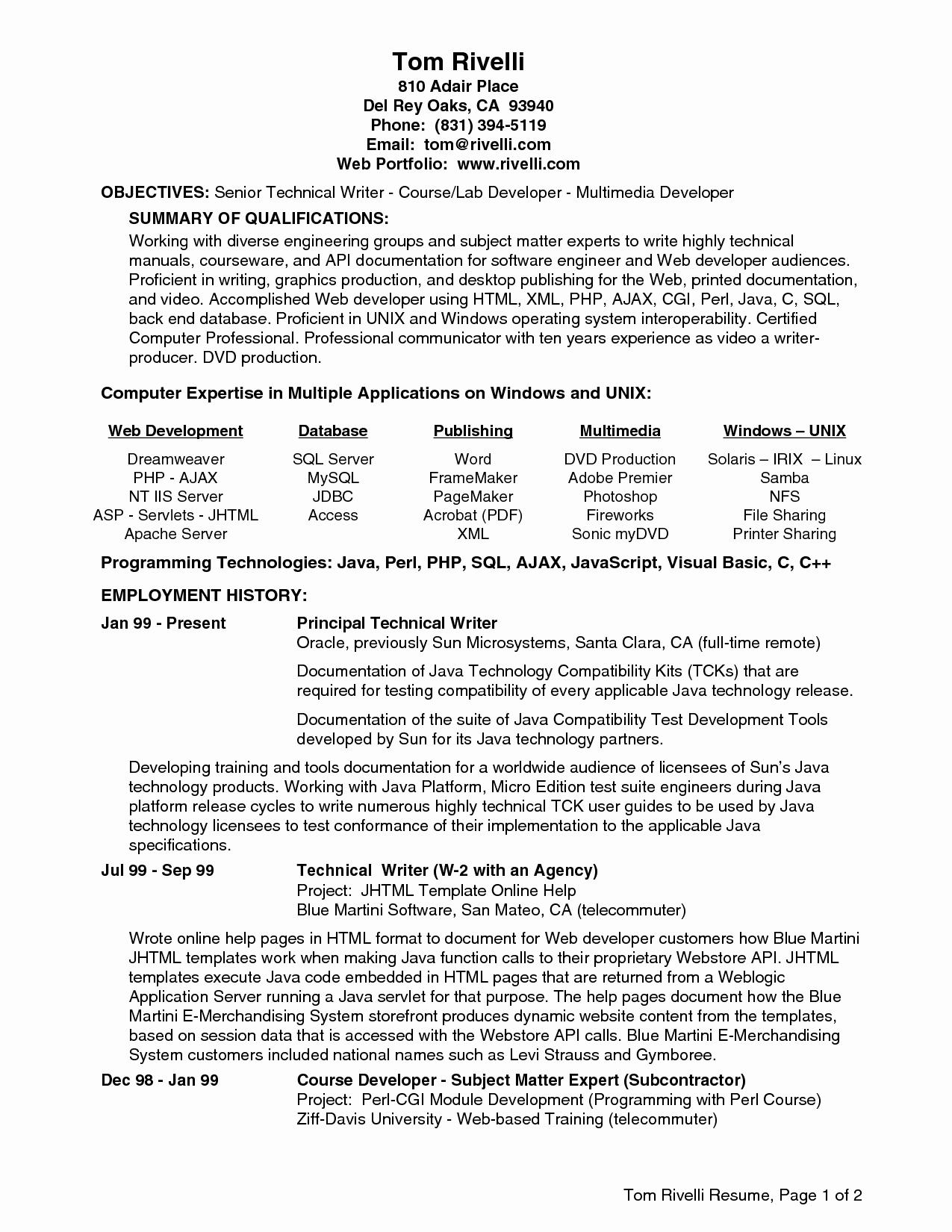 Objective for Java Developer Resume Resume Ideas