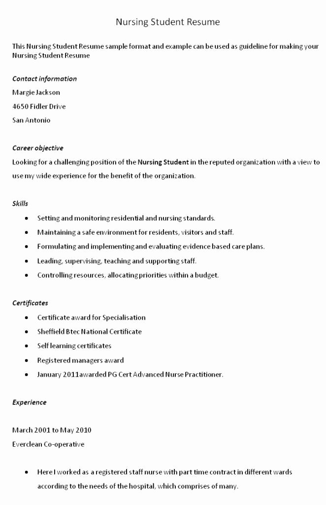 Objective for Nursing Student Resume Best Resume Collection