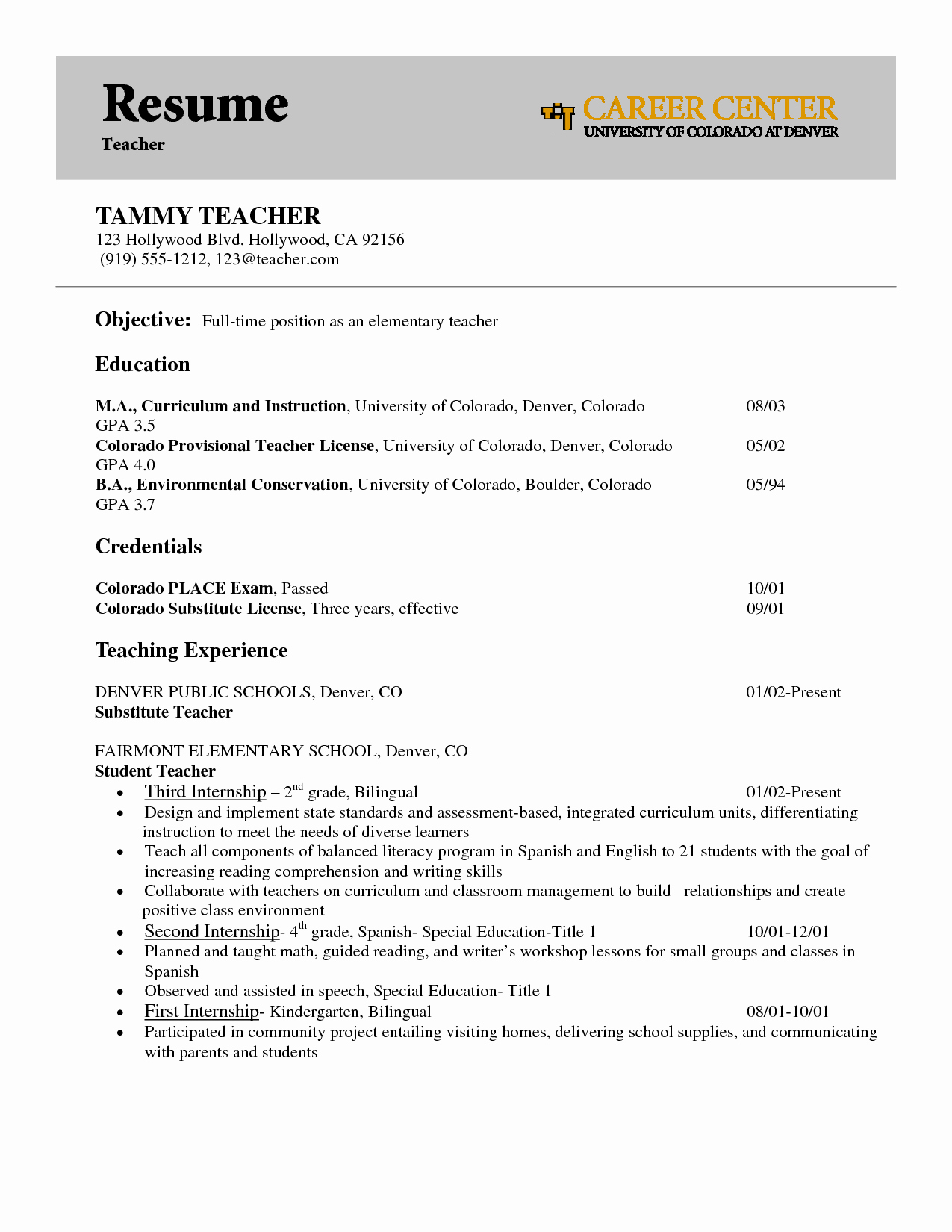Objective In Teaching Resume Resume Ideas